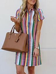 cheap -Women's Shift Dress Knee Length Dress Short Sleeve Color Block Summer Elegant 2021 Rainbow S M L XL