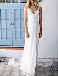 cheap -A-Line Wedding Dresses V Neck Spaghetti Strap Sweep / Brush Train Chiffon Lace Sleeveless Vintage Sexy Wedding Dress in Color Backless with Sashes / Ribbons Pleats 2020