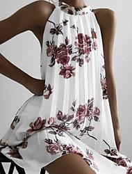 cheap -Women's A Line Dress - Sleeveless Floral Summer Street chic 2020 White Black Blushing Pink S M L XL