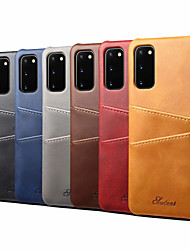 cheap -ase For Samsung Galaxy S20/S20 Plus/S20 Ultra/S10/S10E/S10 5G/S10 Plus/Note 10/Note 10 Plus Card Holder / Shockproof Back Cover Solid Colored PU Leather