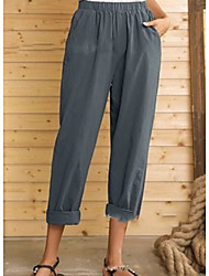 cheap -Women's Basic Loose Cotton Chinos Pants - Solid Colored High Waist Black Blue Gray M / L / XL