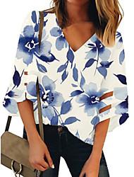 billige -Dame Grafisk Skjorte - Trykt mønster V-hals Daglig Blå S M L XL 2XL 3XL