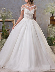 cheap -A-Line Wedding Dresses Jewel Neck Court Train Lace Tulle Short Sleeve Vintage Sexy See-Through Backless with Pleats 2020