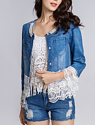 cheap -Women's Spring Denim Jacket Daily Weekend Patchwork Regular Solid Colored Blue & White Lace Cotton Blue S / M / L