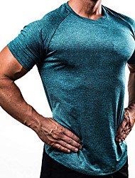 Недорогие -Муж. Компрессионная футболка С короткими рукавами компрессия Основной слой Футболка Верхняя часть Большие размеры Легкость Дышащий Быстровысыхающий Мягкий Впитывает пот и влагу Белый Черный Красный