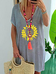 abordables -Femme Géométrique Tee-shirt Quotidien Bleu / Violet / Rouge / Jaune / Gris