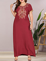cheap -Women's Plus Size Maxi Shift Dress - Short Sleeves Solid Color Embroidered Patchwork Summer Casual Elegant Daily Going out Loose 2020 Wine L XL XXL XXXL