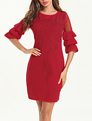 cheap -Women's Sheath Dress - Half Sleeve Solid Color Sequins Ruffle Mesh Summer Fall Elegant Vintage Daily Going out Flare Cuff Sleeve 2020 Red L XL XXL