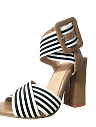 cheap -Women's Sandals 2020 Summer Pumps Peep Toe Daily Office & Career Buckle Striped PU / Elastic Fabric Almond
