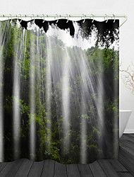 cheap -Beautiful Water Curtain Hole Digital Print Waterproof Fabric Shower Curtain for Bathroom Home Decor Covered Bathtub Curtains Liner Includes with Hooks