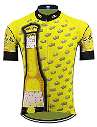 cheap -21Grams Men's Short Sleeve Cycling Jersey Black / Yellow Crown Oktoberfest Beer Bike Jersey Top Mountain Bike MTB Road Bike Cycling UV Resistant Quick Dry Breathable Sports Clothing Apparel