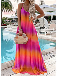 cheap -Women's Plus Size Chiffon Dress Maxi long Dress - Sleeveless Rainbow Print Summer Mumu Holiday Beach Loose 2020 Red Yellow Green Gray Light Blue S M L XL XXL XXXL