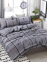 cheap -Simple wind stripe plaid printing pattern bedding four-piece quilt cover bed sheet pillow cover dormitory single double