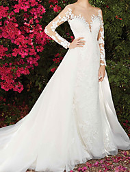 cheap -A-Line Wedding Dresses Jewel Neck Chapel Train Lace Long Sleeve Country Wedding Dress in Color with Lace Insert Appliques 2021