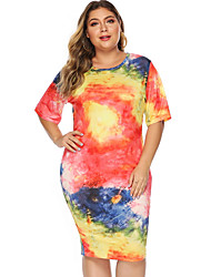 cheap -Women's Sheath Dress Knee Length Dress - Short Sleeves Tie Dye Summer Casual 2020 Orange XL XXL XXXL XXXXL
