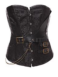 cheap -Women's Hook & Eye Overbust Corset - Jacquard, Jacquard Brown Black S M L