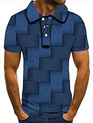 Недорогие -Муж. Графика 3D-печати С принтом Polo Повседневные Синий / С короткими рукавами