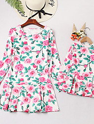cheap -Mommy and Me Vintage Sweet Floral Color Block Print Long Sleeve Knee-length Dress Blushing Pink