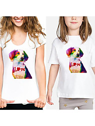 cheap -Mommy and Me Active Basic Rainbow Graphic Animal Print Short Sleeve Regular Tee White
