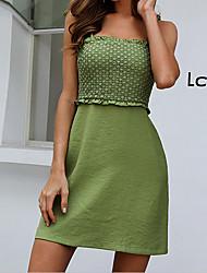 Недорогие -женское зеленое каузальное мини платье с квадратным вырезом и рюшами mm0590