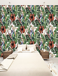 cheap -Custom Self-Adhesive Mural Wallpaper Green Leaves And Red Flowers Are Suitable For Bedroom Living Room Restaurant And Hotel Wall  Art Deco / Cartoon / Landscape Home Decoration Modern Wall Covering