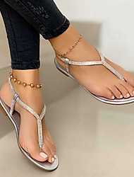 cheap -Women's Sandals Boho Bohemia Beach Flat Heel Open Toe Flat Sandals Daily PU Black Gold Silver