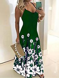 cheap -Women's Sundress Dress - Sleeveless Print Summer Boho Sexy Holiday Going out 2020 Black Blue Purple Green S M L XL XXL XXXL XXXXXL