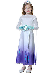 cheap -Princess Elsa Dress Flower Girl Dress Girls' Movie Cosplay A-Line Slip Vacation Dress White Dress Children's Day Masquerade Tulle Polyester