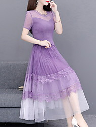 cheap -Women's A Line Dress - Short Sleeves Color Block Summer Street chic 2020 Black Purple Blushing Pink M L XL XXL XXXL