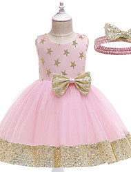 cheap -Toddler Girls' Active Cute Galaxy Sequins Bow Sleeveless Knee-length Dress Blushing Pink