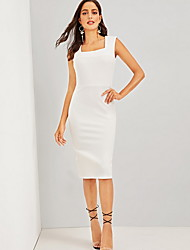 cheap -Women's Shift Dress Knee Length Dress - Sleeveless Solid Color Summer Casual Daily 2020 White S M L XL