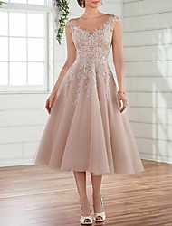 cheap -A-Line Wedding Dresses Jewel Neck Tea Length Lace Tulle Sleeveless Simple See-Through with Embroidery 2020
