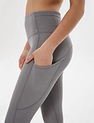 cheap -Women's High Waist Yoga Pants Side Pockets Capri Leggings Butt Lift 4 Way Stretch Breathable Black Purple Blue Nylon Non See-through Gym Workout Running Fitness Sports Activewear High Elasticity