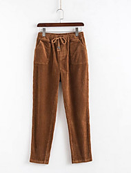 cheap -Women's Active Basic Loose Cotton Harem Pants - Solid Colored Winter Black Yellow Brown M / L / XL