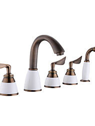 cheap -Bathtub Faucet - Contemporary Antique Copper Tub And Shower Ceramic Valve Bath Shower Mixer Taps