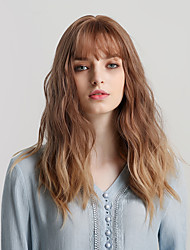 cheap -Synthetic Wig Bangs Curly Water Wave Side Part With Bangs Wig Long Ombre Brown Synthetic Hair 20 inch Women's Cosplay Women Synthetic Brown HAIR CUBE / Ombre Hair