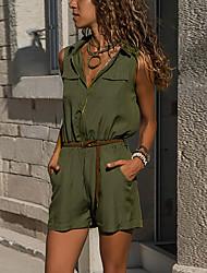 preiswerte -Damen Schwarz Gelb Grün Jumpsuit Einteiler, Solide Kordelzug S M L