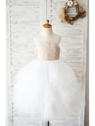 cheap -Ball Gown Knee Length Wedding / Birthday Flower Girl Dresses - Tulle / Sequined Sleeveless Jewel Neck with Tiered