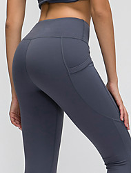 cheap -Women's High Waist Yoga Pants Side Pockets Cropped Leggings Butt Lift 4 Way Stretch Breathable Black Dark Purple Green Nylon Non See-through Gym Workout Running Fitness Sports Activewear High