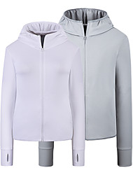 cheap -Men's Full Zip Track Jacket Hoodie Jacket Long Sleeve Elastane UPF 50 UV Sun Protection Running Walking Fitness Jogging Sportswear Jacket Athleisure Wear Top White Blue Gray Activewear Micro-elastic