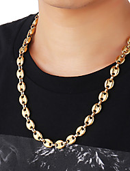 cheap -Choker Necklace Chain Necklace Trendy Rock Fashion Titanium Steel Black Gold Silver 35+5 cm Necklace Jewelry 1pc For Street Birthday Party Festival / Long Necklace