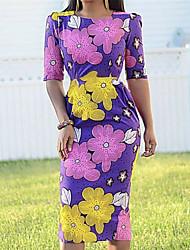cheap -Women's Bodycon Dress - Short Sleeves Geometric Summer Elegant Sexy 2020 Purple S M L XL XXL