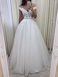 cheap -A-Line Wedding Dresses V Wire Sweep / Brush Train Lace Tulle Short Sleeve Sexy See-Through with Embroidery 2020