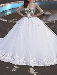 cheap -Ball Gown Wedding Dresses Jewel Neck Sweep / Brush Train Polyester Long Sleeve Country Plus Size with Beading Lace Insert Appliques 2020