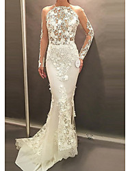 cheap -Mermaid / Trumpet Wedding Dresses Halter Neck Sweep / Brush Train Lace Tulle Chiffon Over Satin Long Sleeve Sexy See-Through with Embroidery 2020