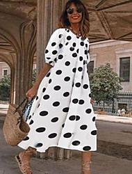 cheap -Women's A-Line Dress Midi Dress - Half Sleeve Polka Dot Summer Work 2020 White Black Navy Blue Light Blue S M L XL XXL