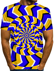 cheap -Men's Graphic 3D Print Black & Red Print T-shirt Basic Exaggerated Daily Purple / Red / Yellow / Navy Blue / Gray / Light Blue