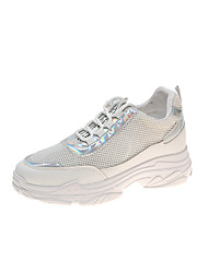 cheap -Women's Trainers / Athletic Shoes 2020 Summer Hidden Heel Round Toe Sporty Daily Solid Colored Faux Leather / Mesh Walking Shoes White / Silver / White