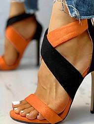 cheap -Women's Sandals Summer Stiletto Heel Open Toe Daily Suede Orange