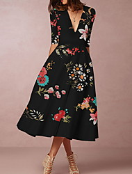 cheap -Women's Shift Dress Midi Dress - Half Sleeve Floral Summer Casual Vintage Daily 2020 White Black S M L XL XXL XXXL